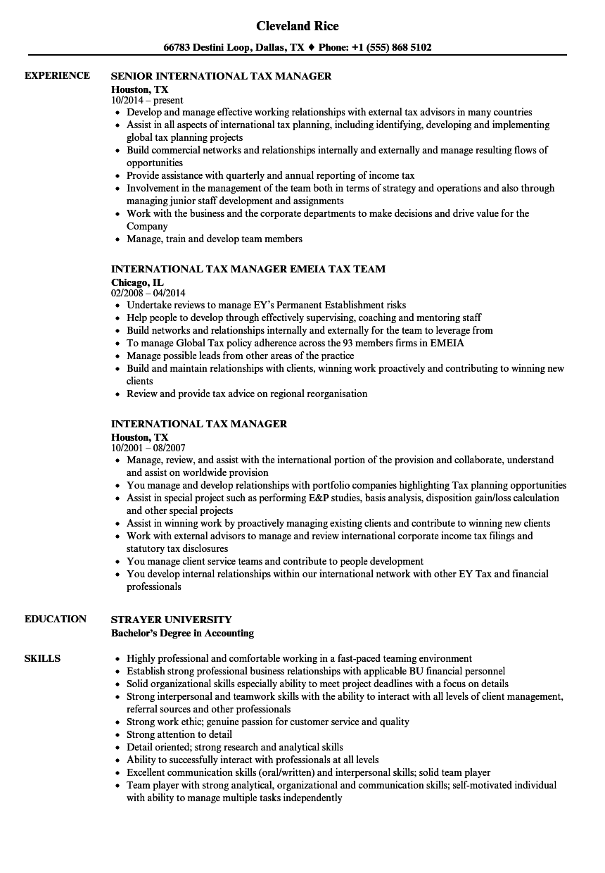 Download International Tax Manager Resume Sample As Image File