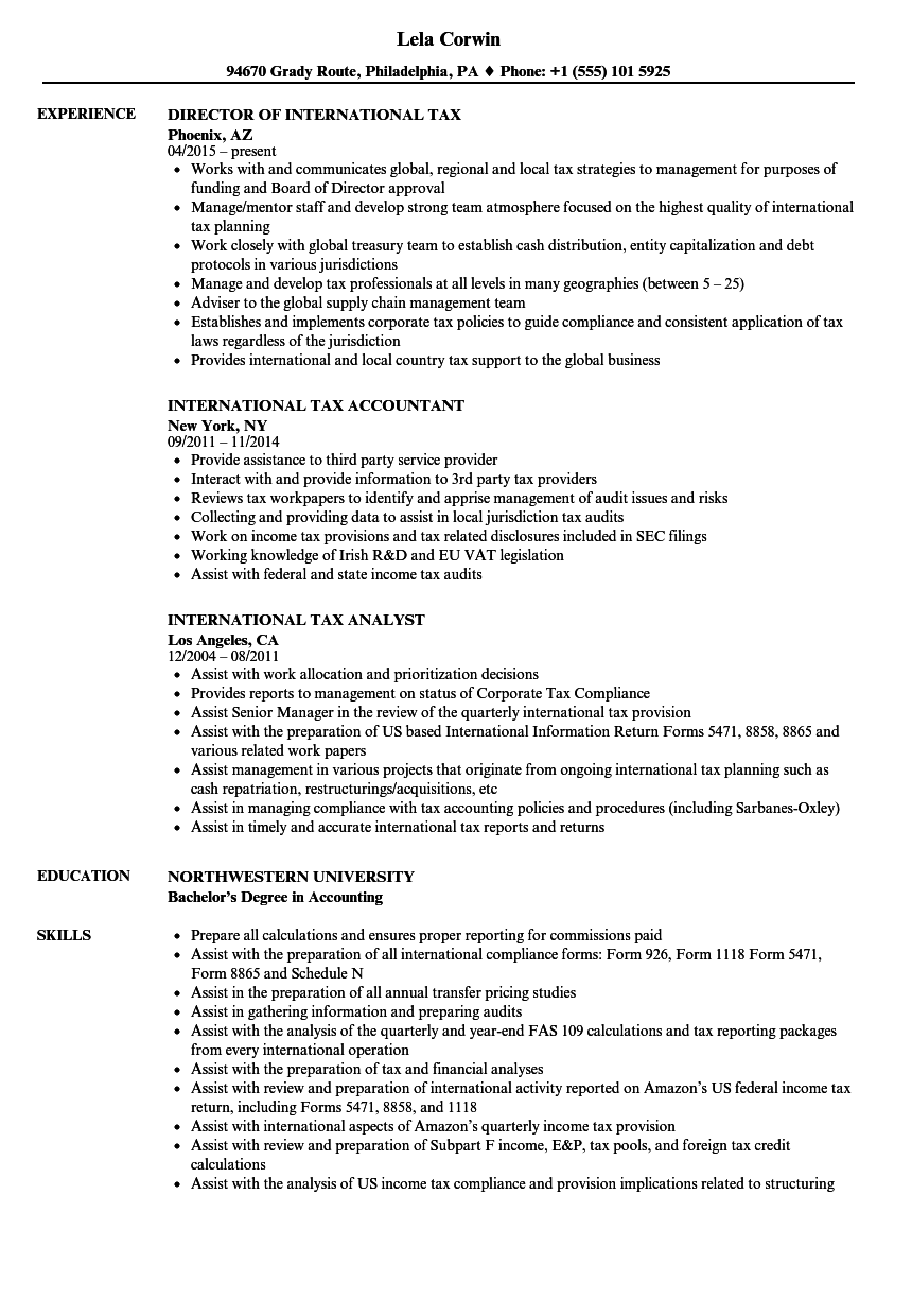 International Tax Resume Samples | Velvet Jobs