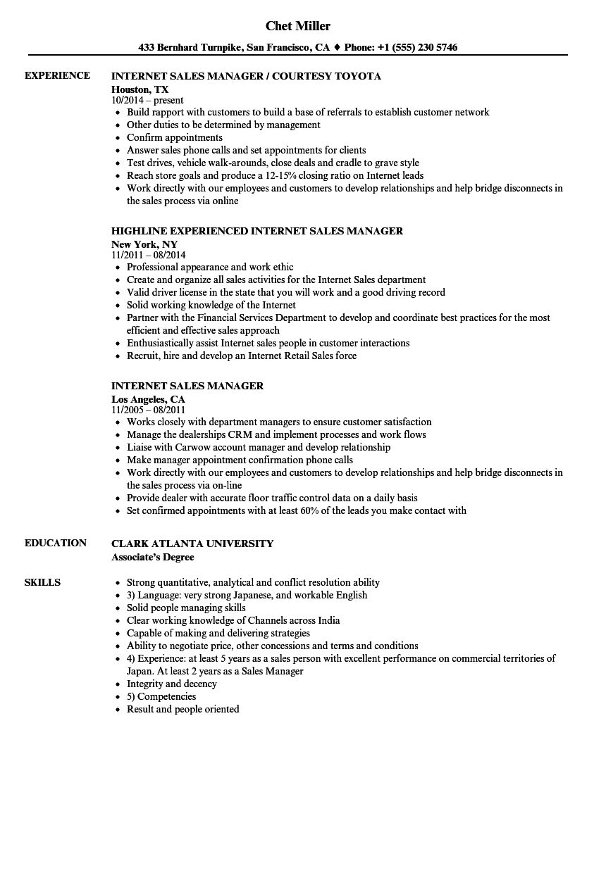 Internet Sales Manager Resume Samples | Velvet Jobs