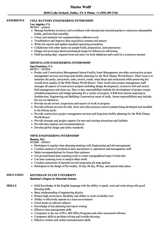 Internship Engineering Resume Samples Velvet Jobs