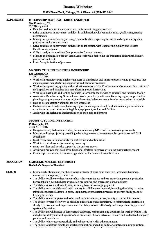 Internship Manufacturing Resume Samples | Velvet Jobs