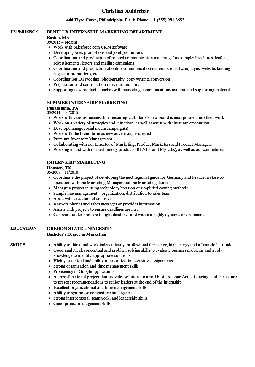 Download Internship, Marketing Resume Sample As Image File  Resume For An Internship