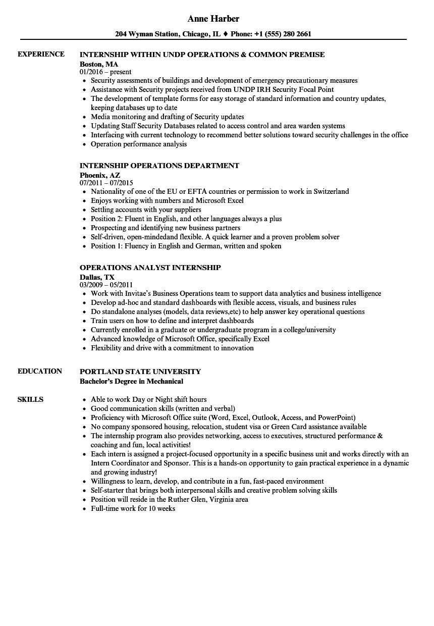 internship operations resume samples