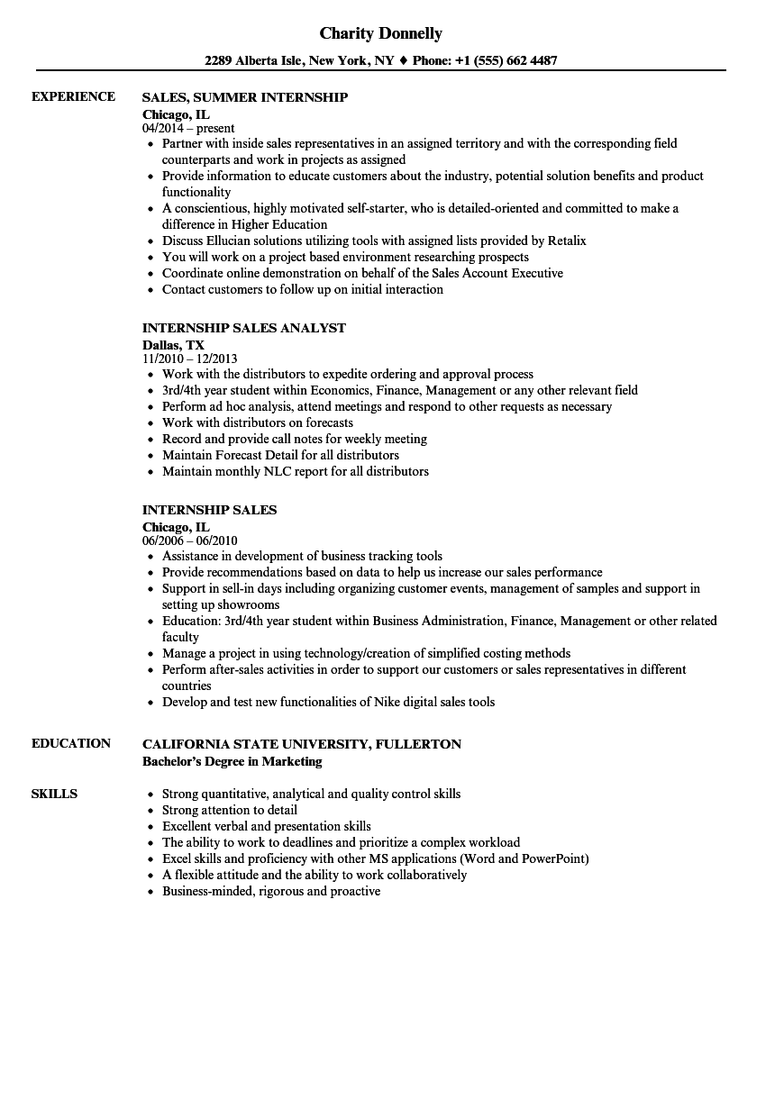 Internship Sales Resume Samples