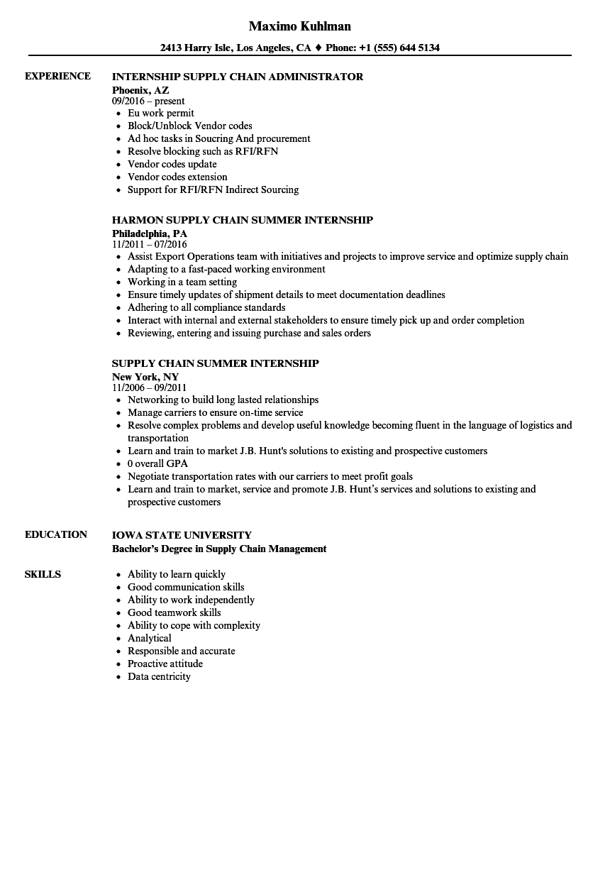 Internship Supply Chain Resume Samples Velvet Jobs