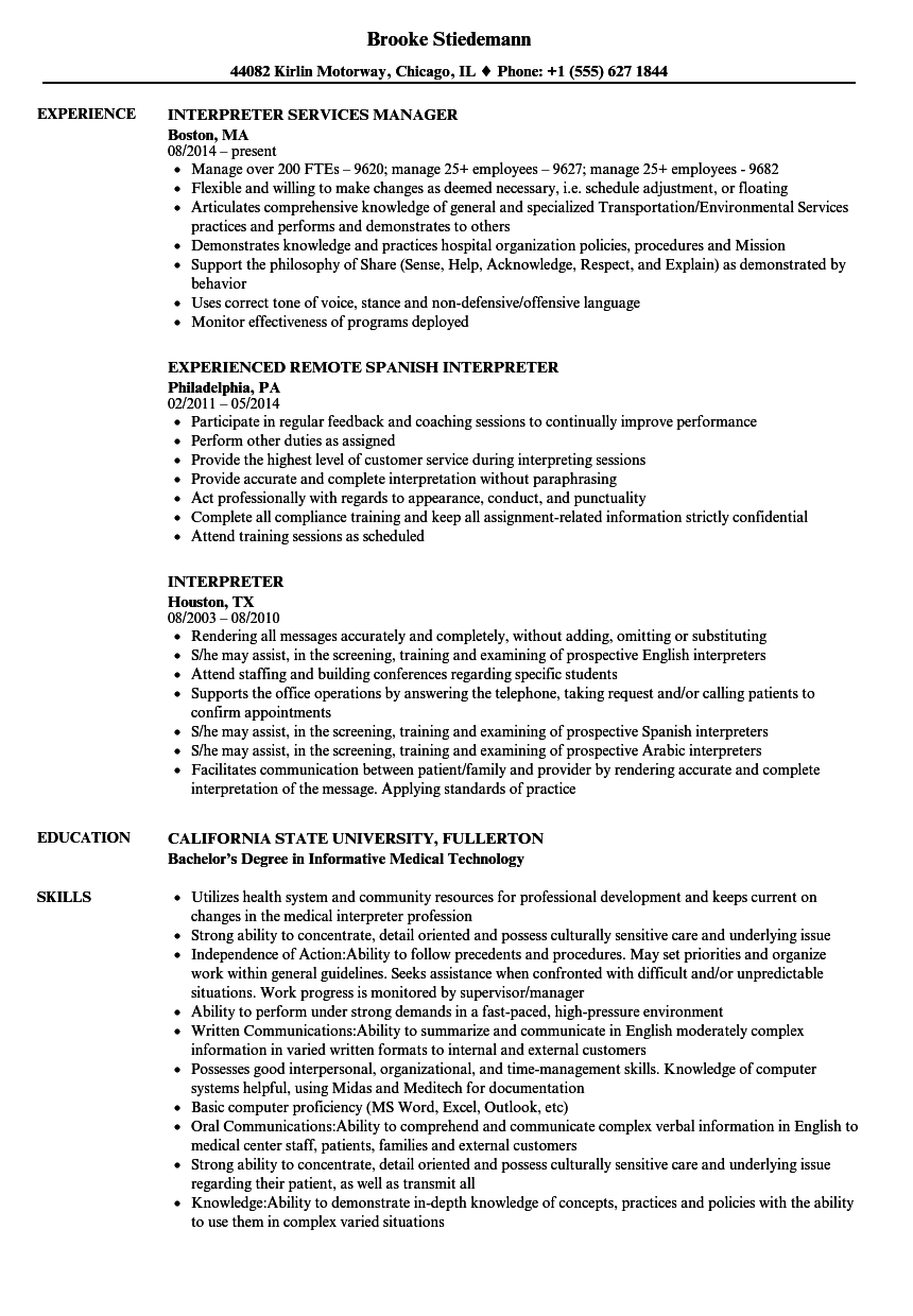 interpreter resume samples