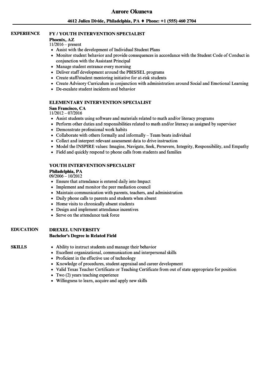 Download Intervention Specialist Resume Sample As Image File