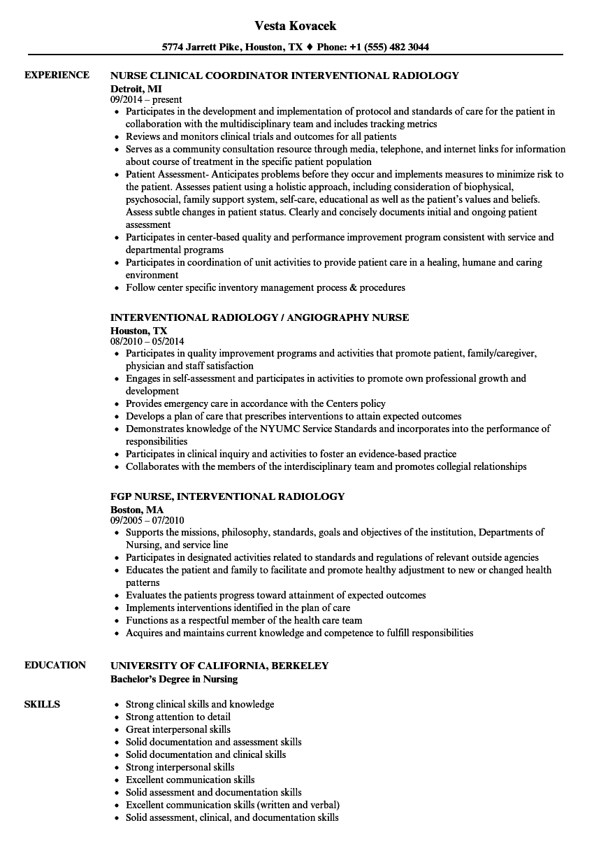 Interventional Radiology Nurse Resume Samples Velvet Jobs