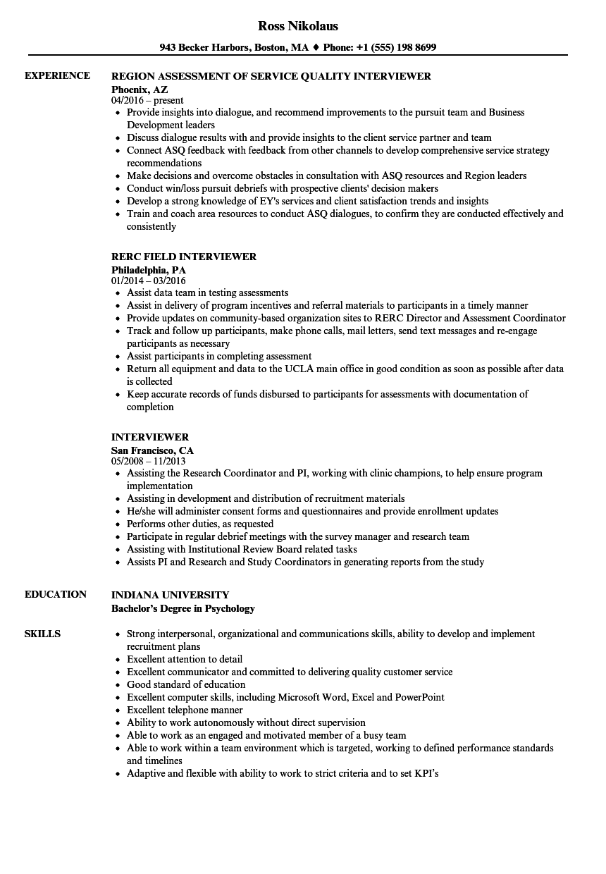 interviewer resume samples