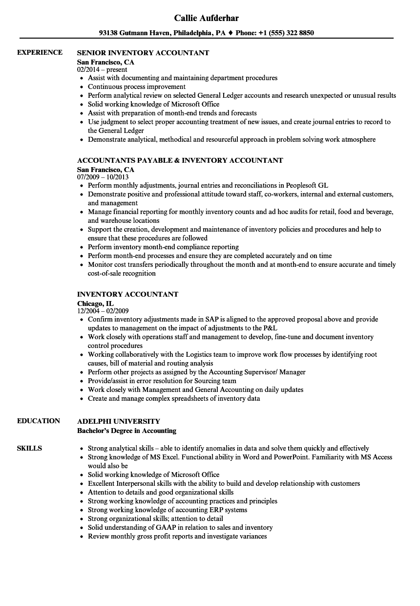Inventory Accountant Resume Samples | Velvet Jobs