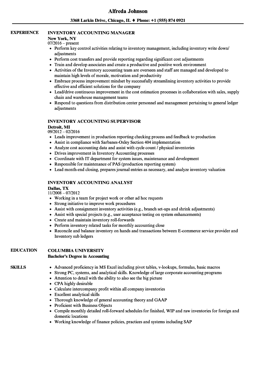 Inventory Accounting Resume Samples | Velvet Jobs