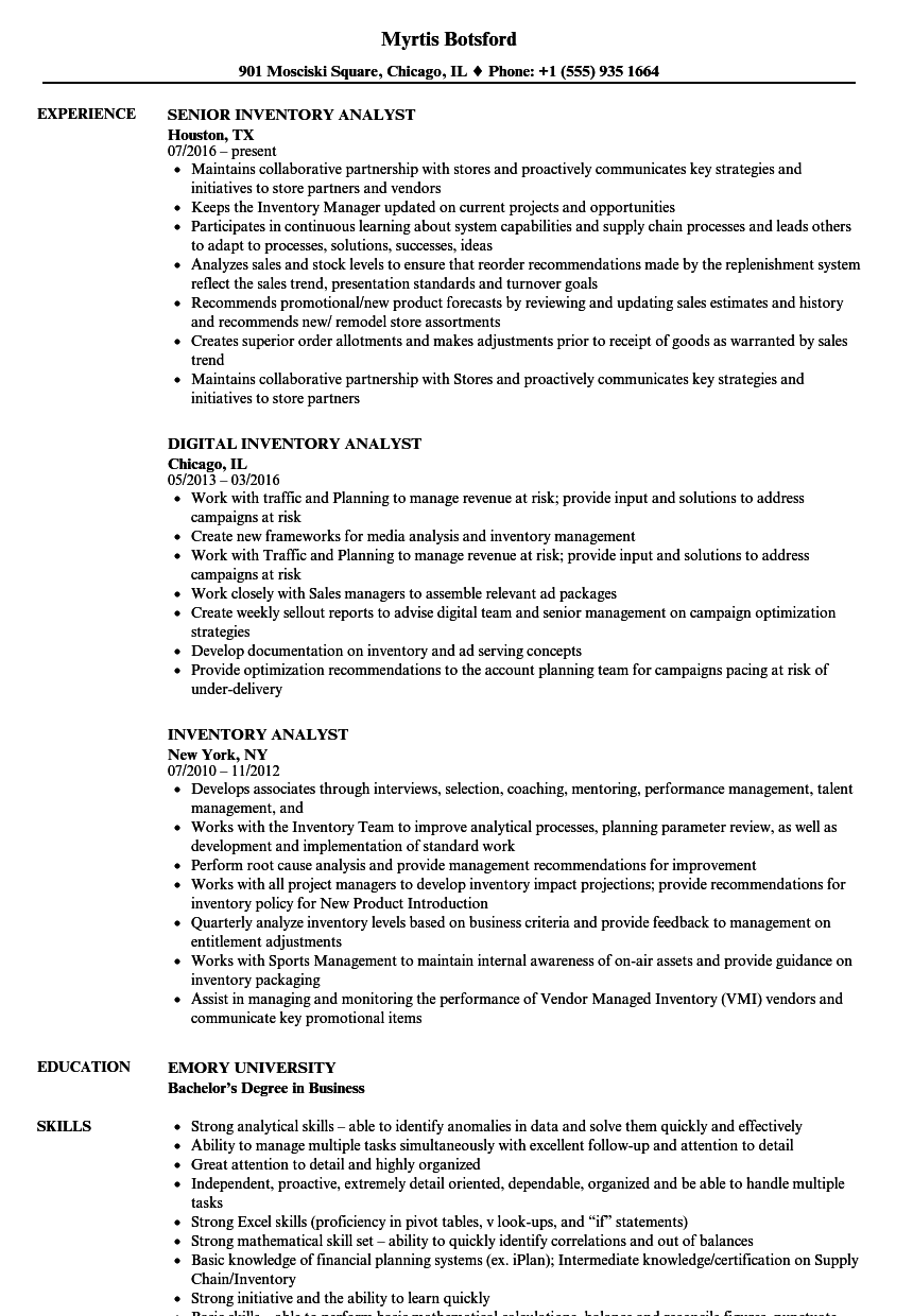 inventory analyst resume samples velvet jobs