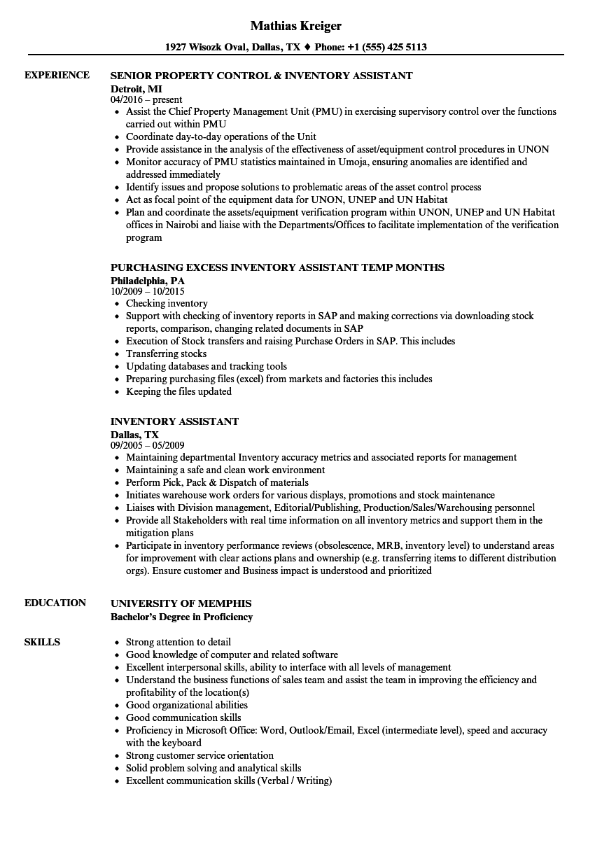 inventory assistant resume samples