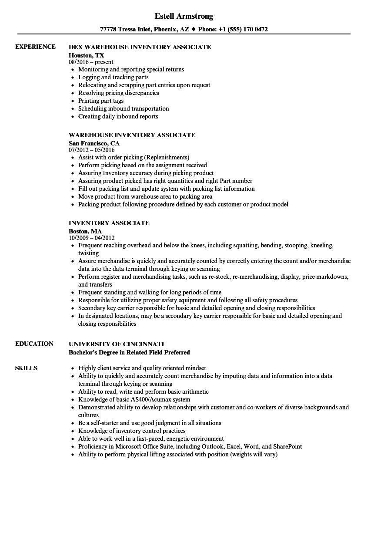 inventory associate resume samples velvet jobs