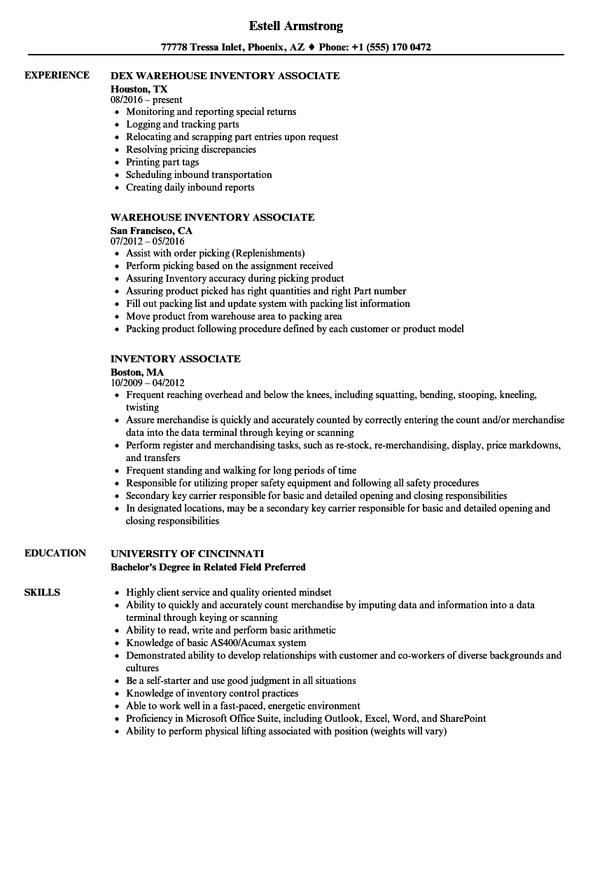 inventory associate resume samples