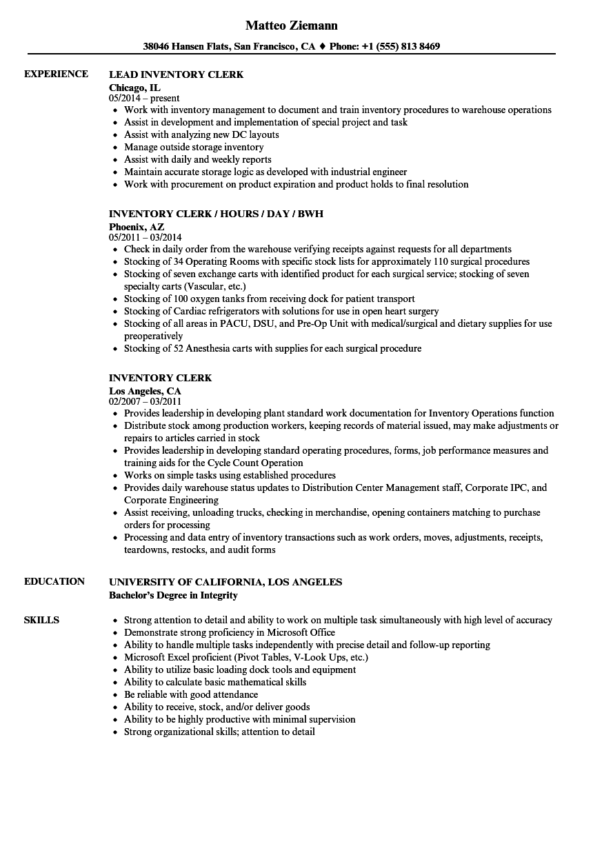 Inventory Clerk Resume Samples | Velvet Jobs