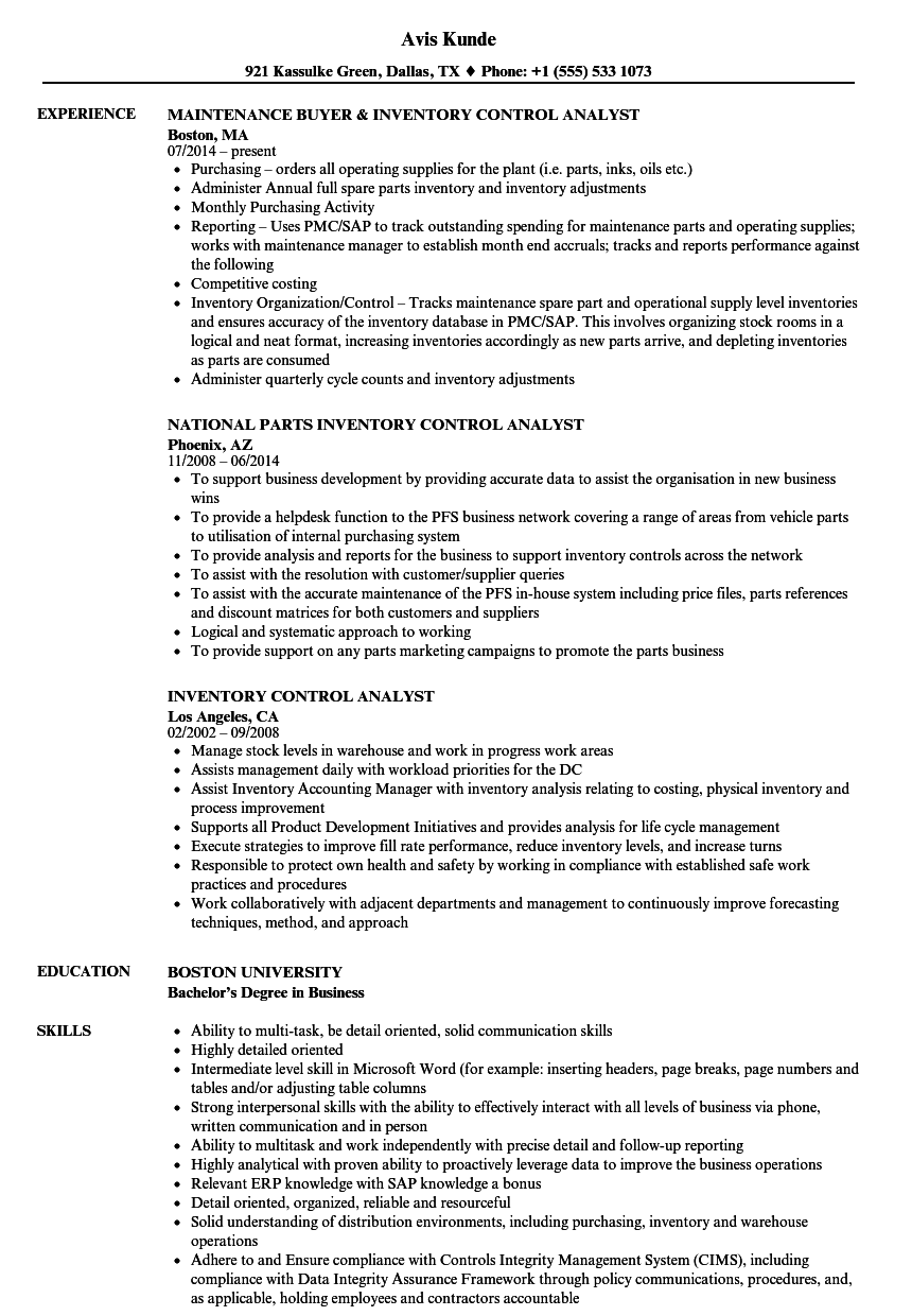 inventory control analyst cover letter Looking for a great paid internship at osteomed in addison, tx learn more about the inventory control analyst position right now.