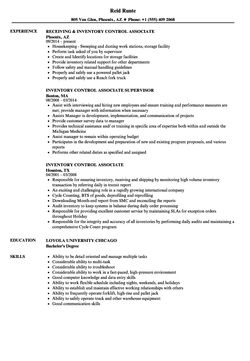 Inventory Control Associate Resume Samples Velvet Jobs