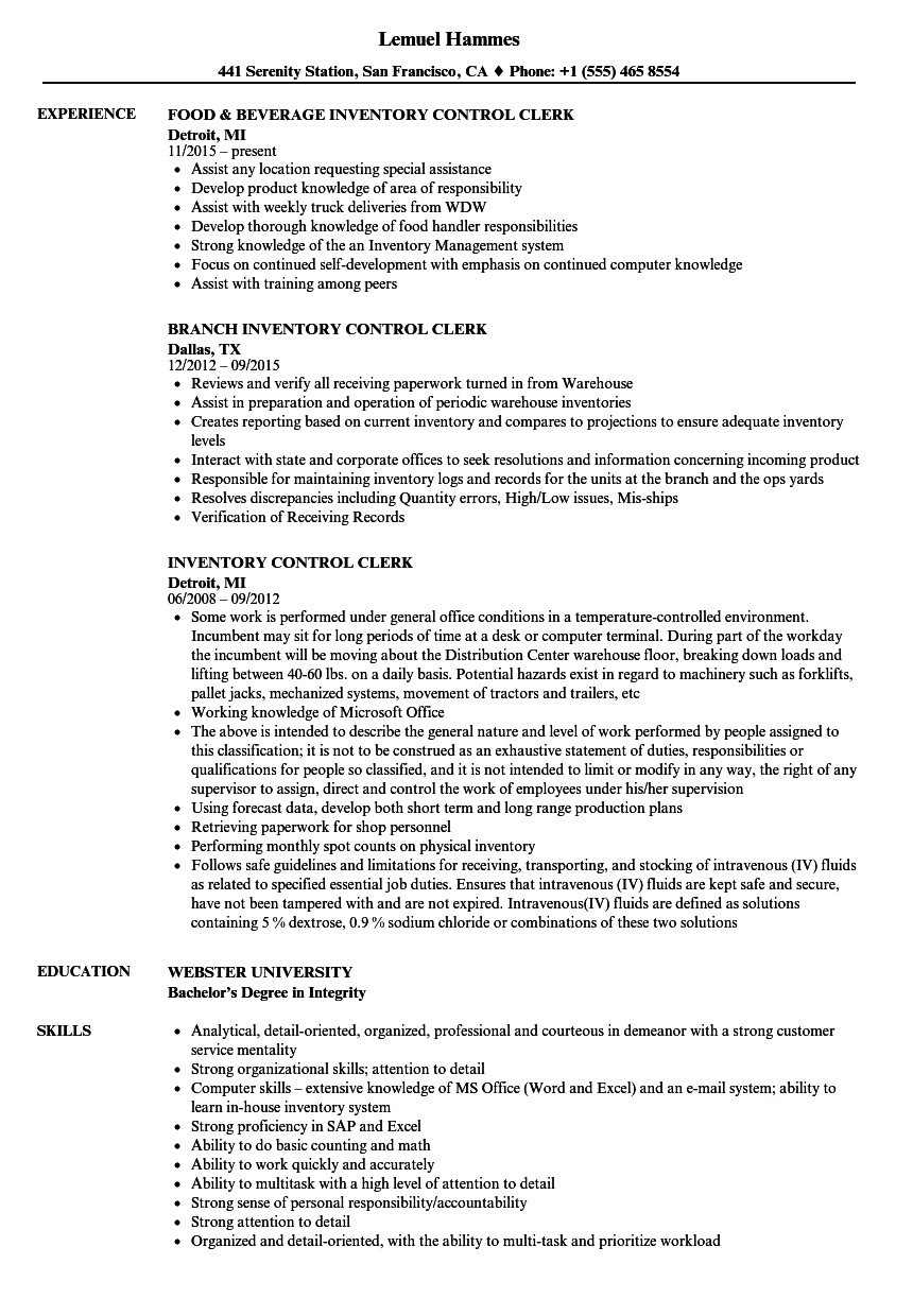 inventory control clerk resume samples