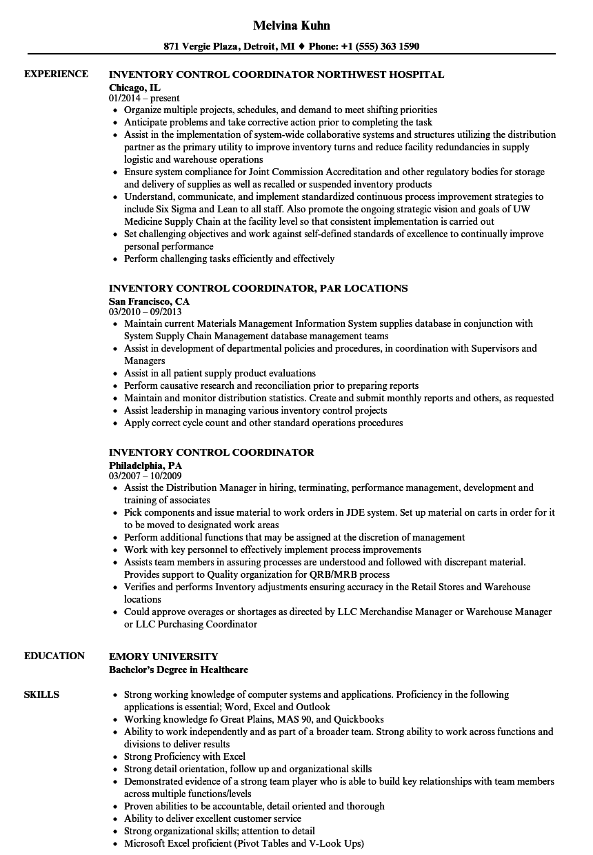 Inventory Control Coordinator Resume Samples Velvet Jobs