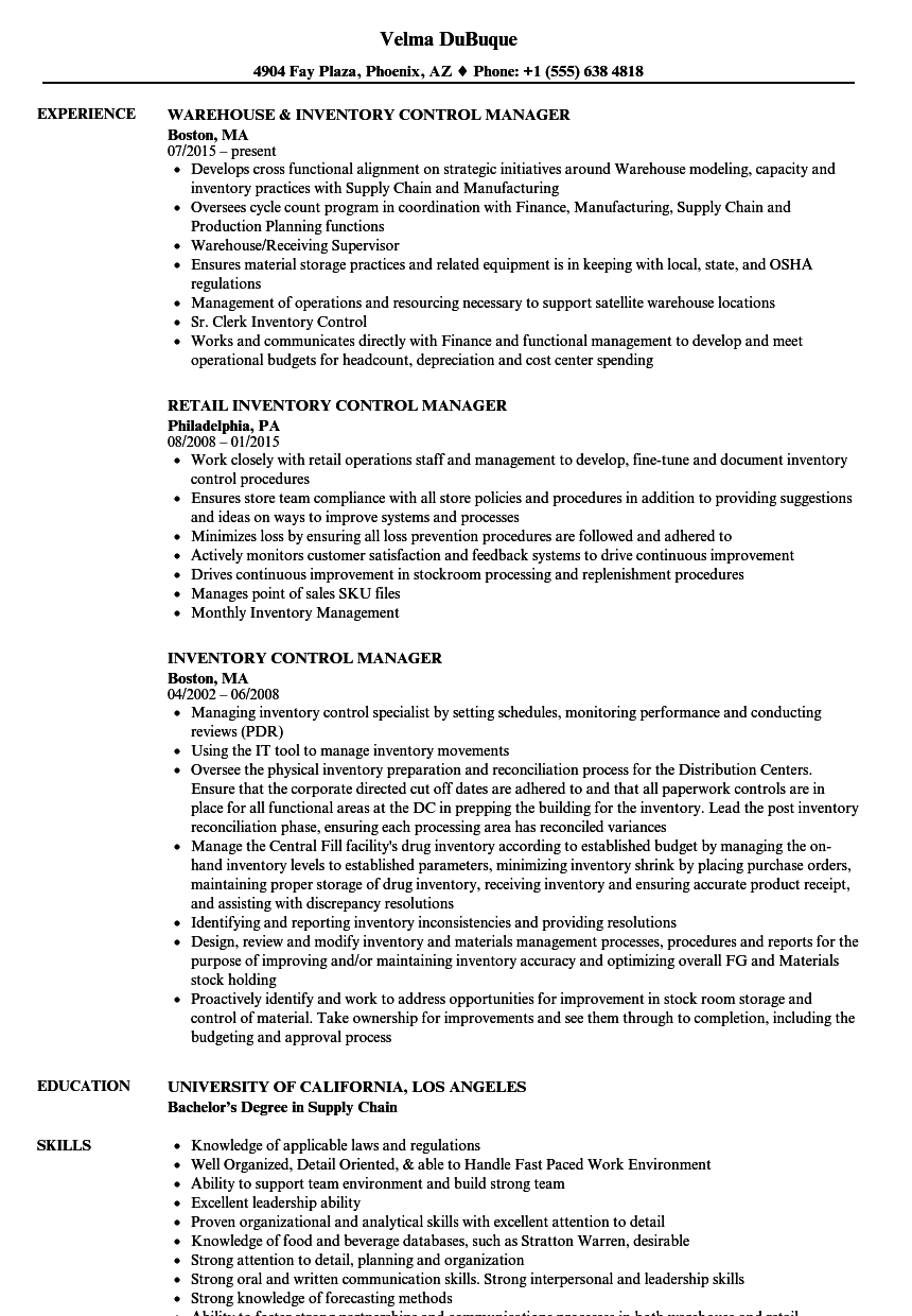 Inventory Control Manager Resume Samples Velvet Jobs