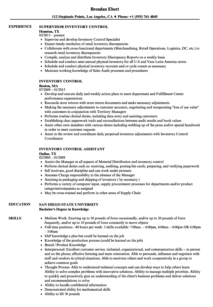 Inventory Control Resume Samples | Velvet Jobs