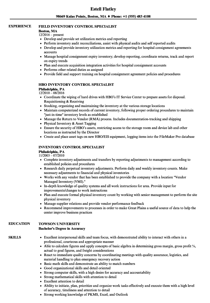 Inventory Control Specialist Resume Samples Velvet Jobs