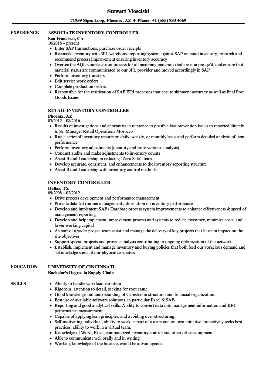 inventory controller resume samples velvet jobs