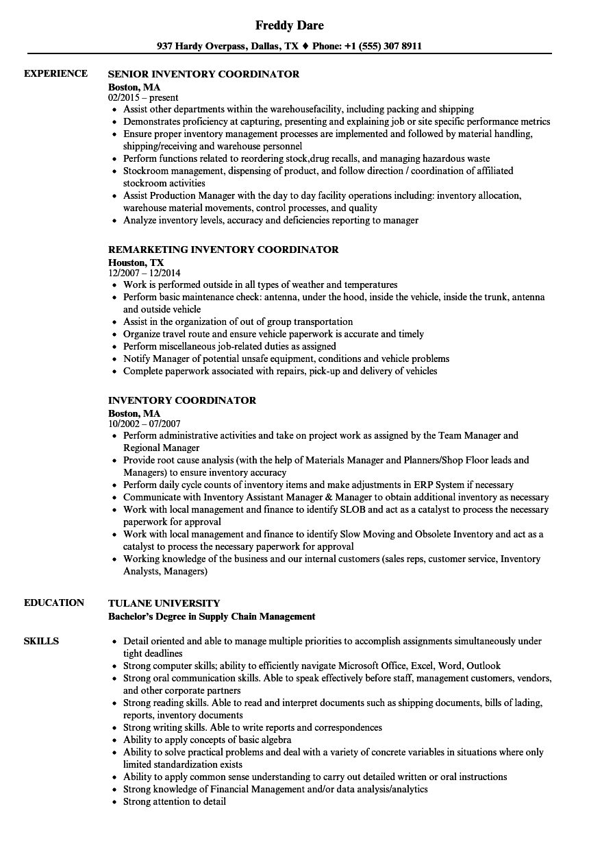 Inventory Coordinator Resume Samples Velvet Jobs