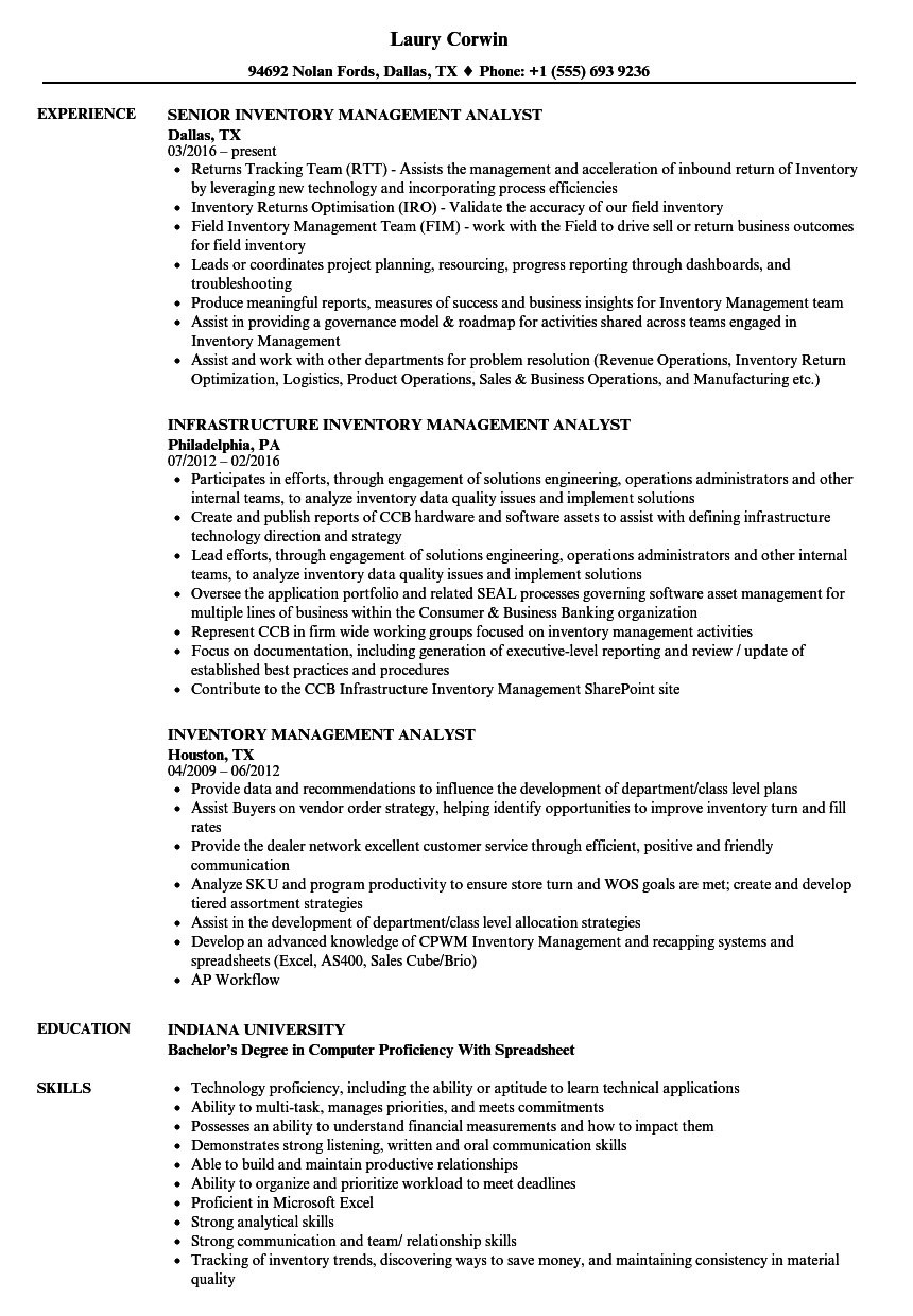 inventory management analyst resume samples