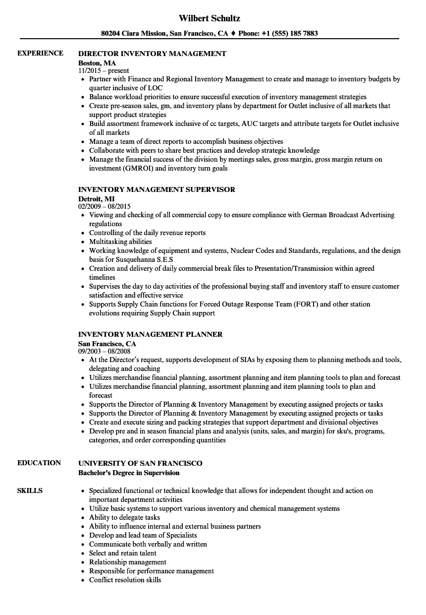 Velvet Jobs  Inventory Management Resume