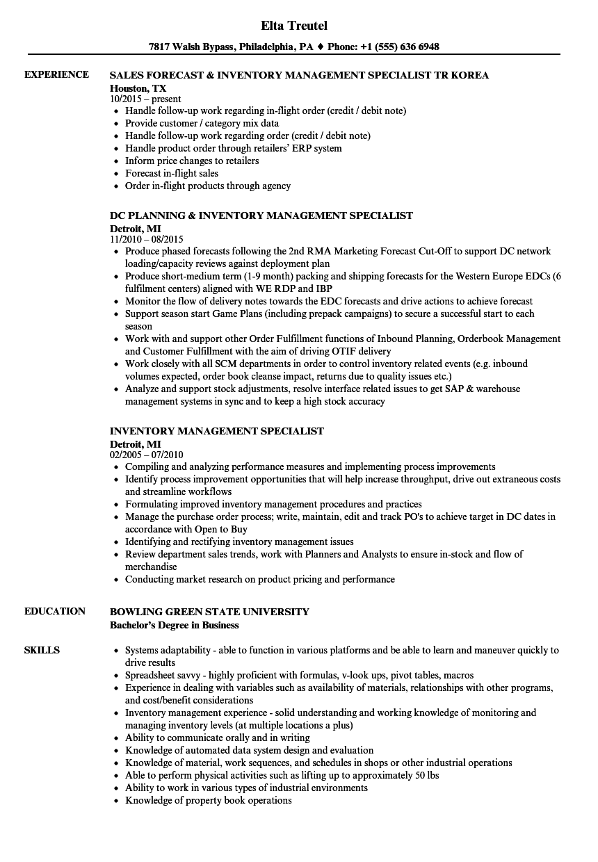 Inventory Management Specialist Resume Samples | Velvet Jobs