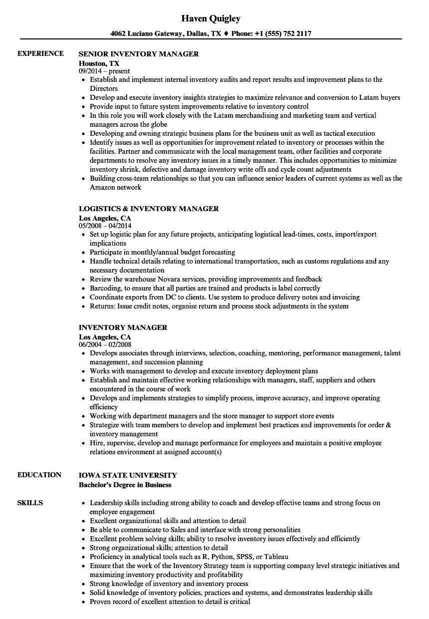 Velvet Jobs  Inventory Manager Resume