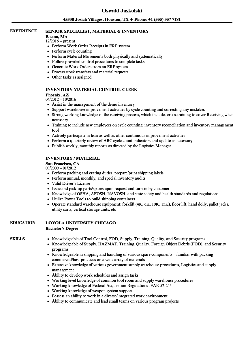 inventory    material resume samples
