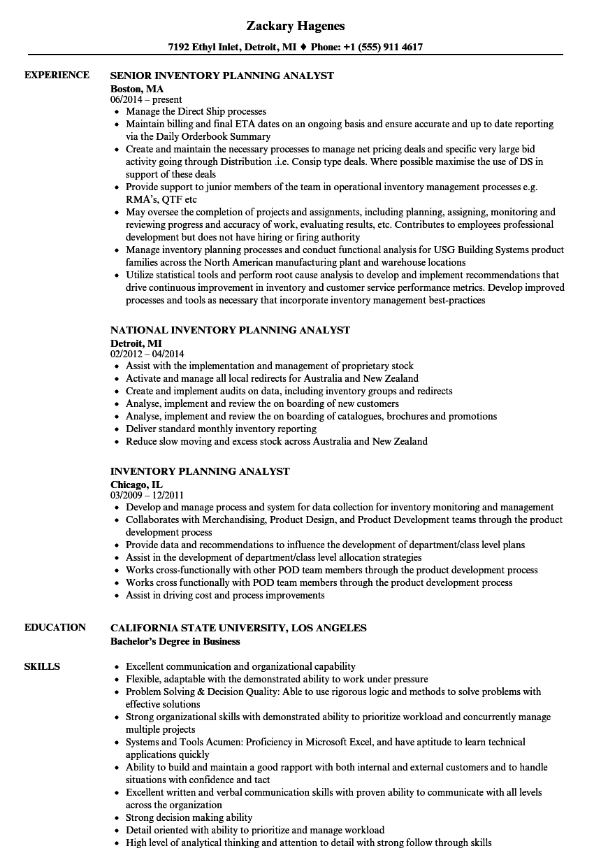 inventory planning analyst resume samples