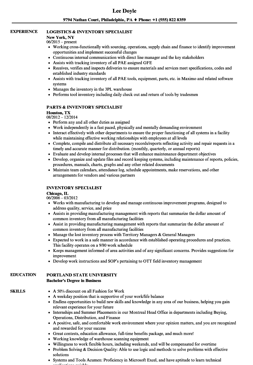 Inventory Specialist Resume Samples | Velvet Jobs