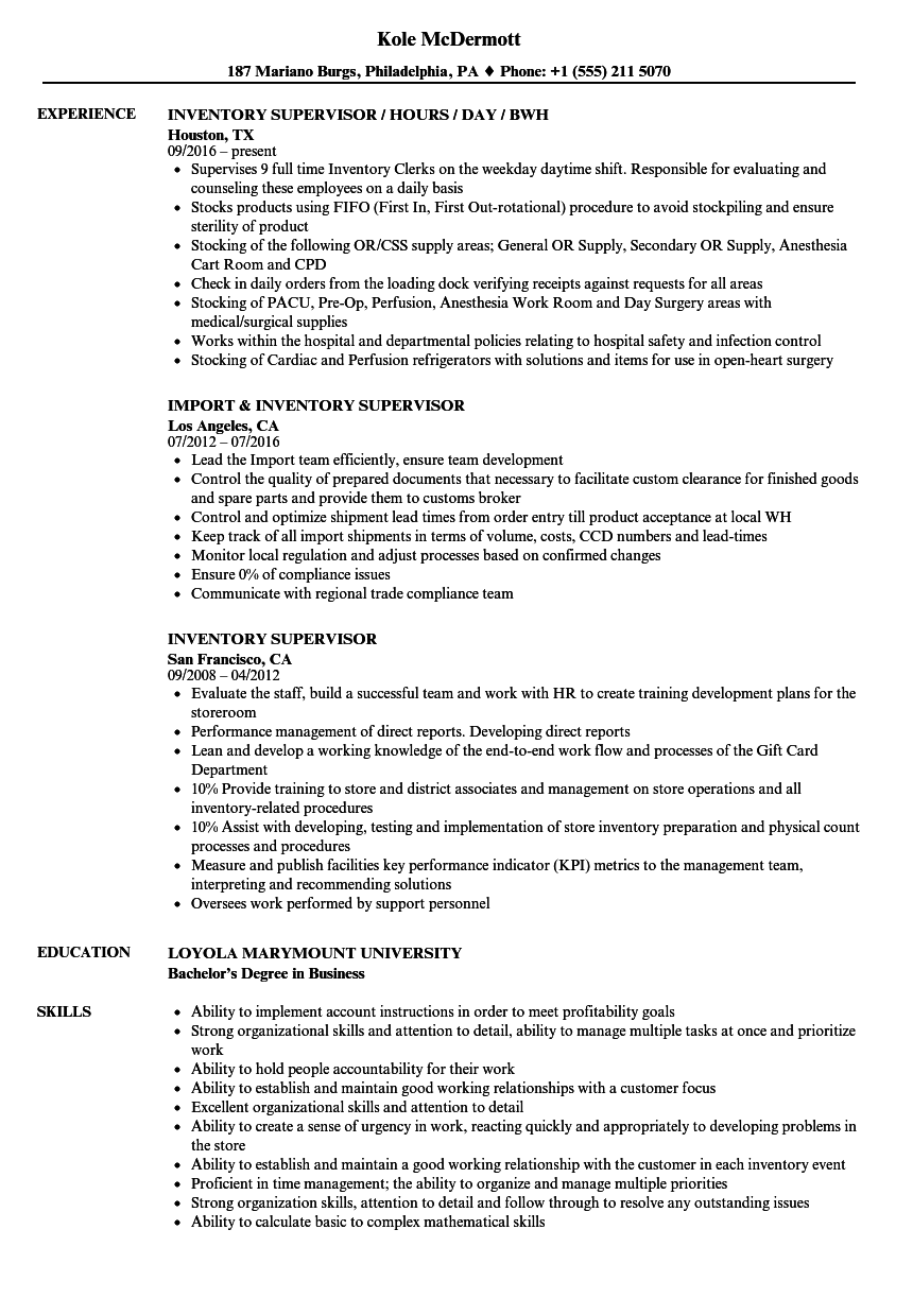 Download Inventory Supervisor Resume Sample As Image File