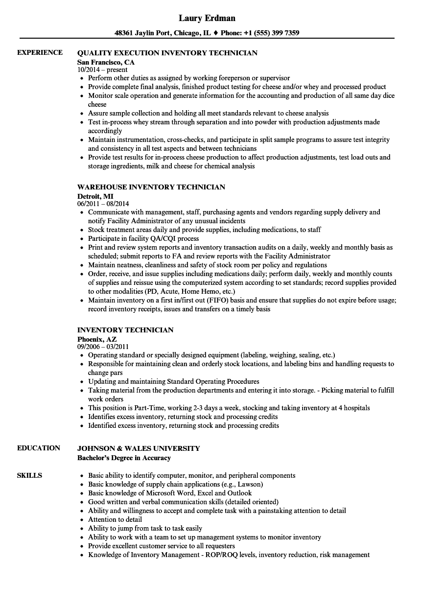 inventory technician resume samples
