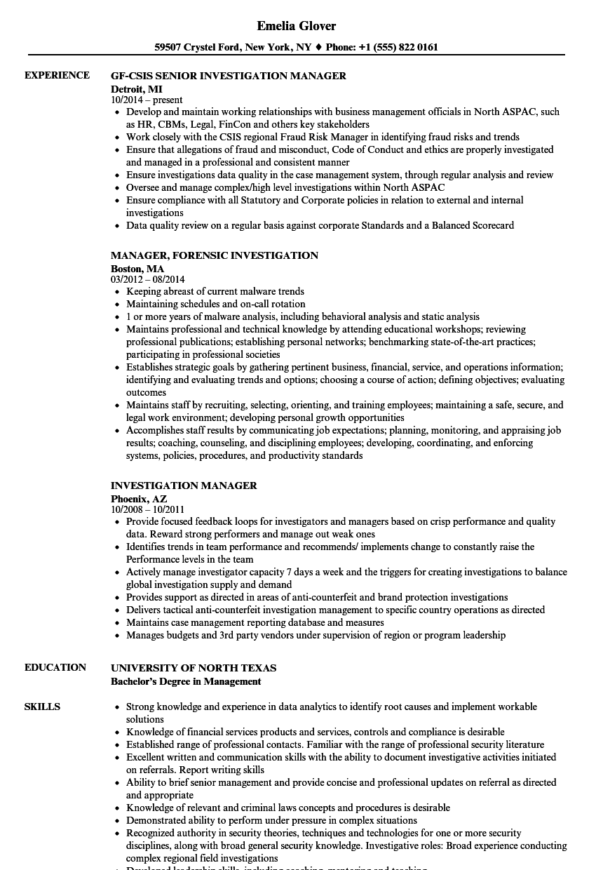 investigation manager resume samples