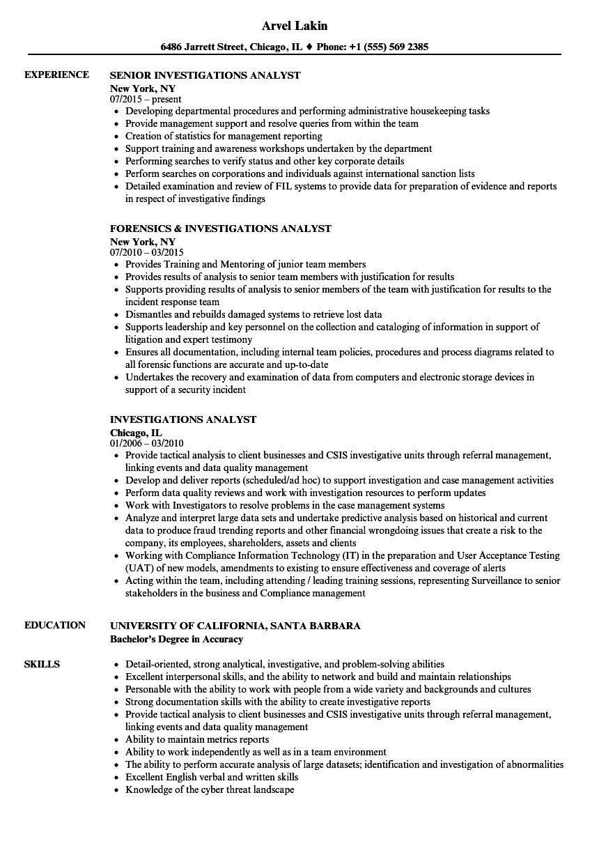 Download Investigations Analyst Resume Sample As Image File