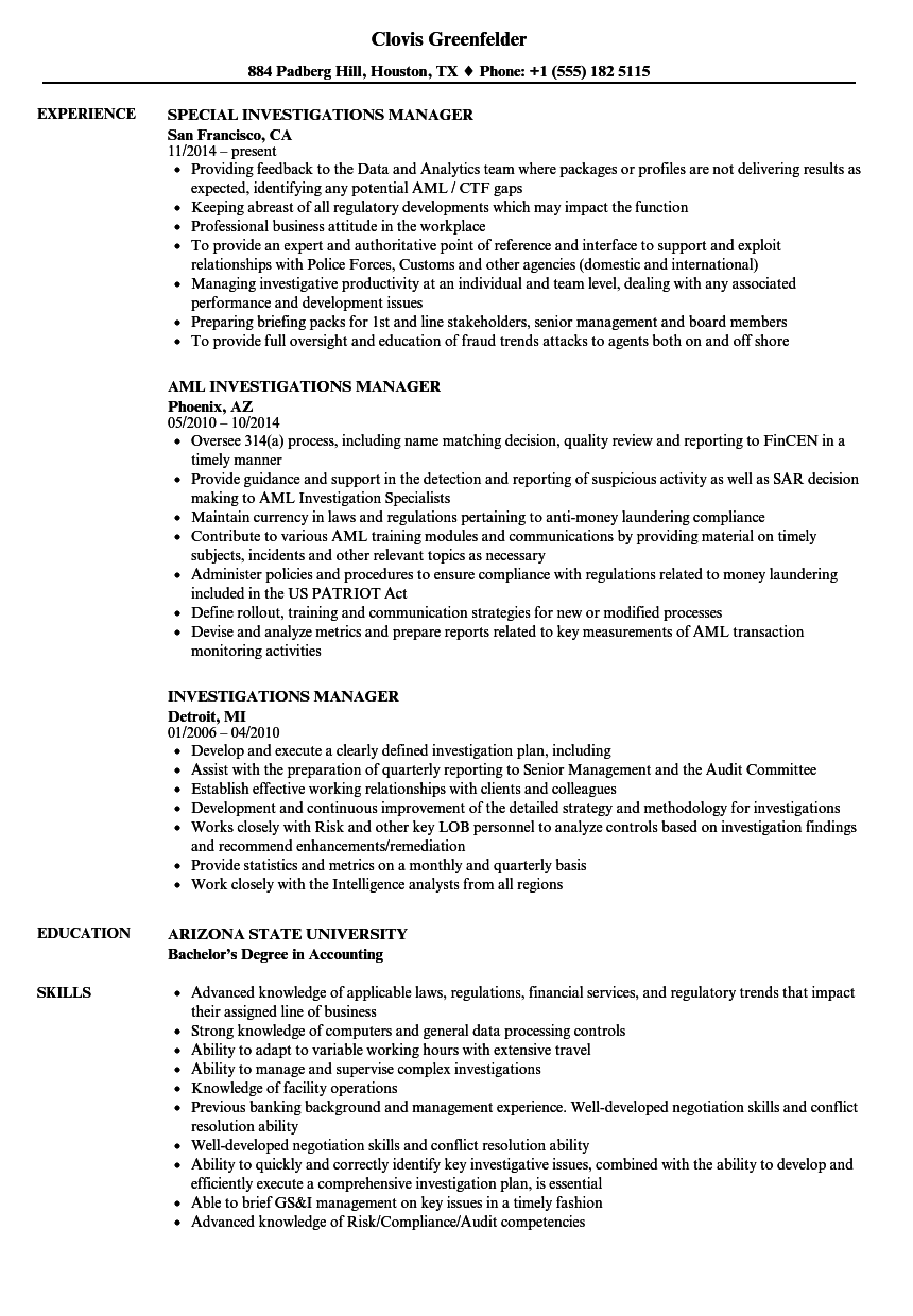 Investigations Manager Resume Samples | Velvet Jobs
