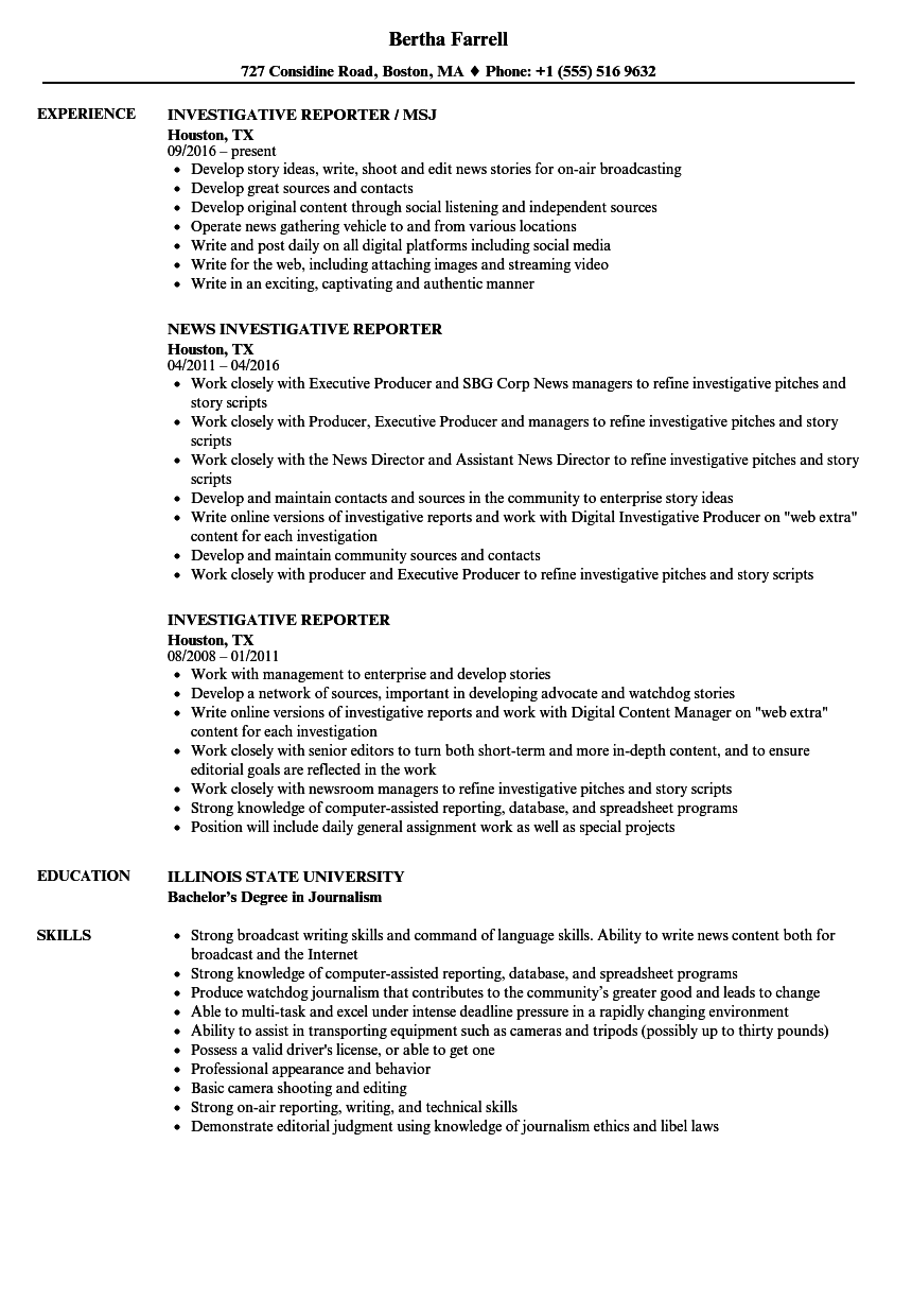 Investigative Reporter Resume Samples | Velvet Jobs