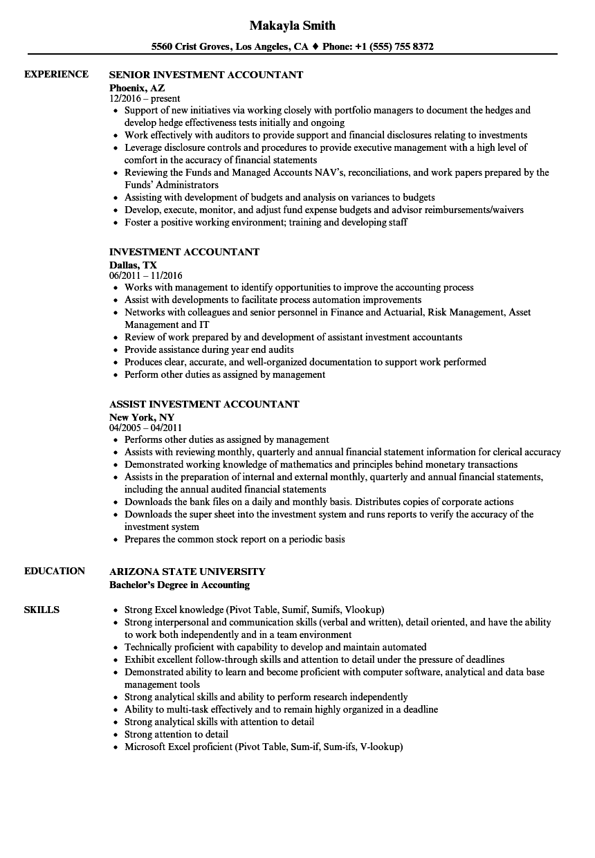 Investment Accountant Resume Samples | Velvet Jobs