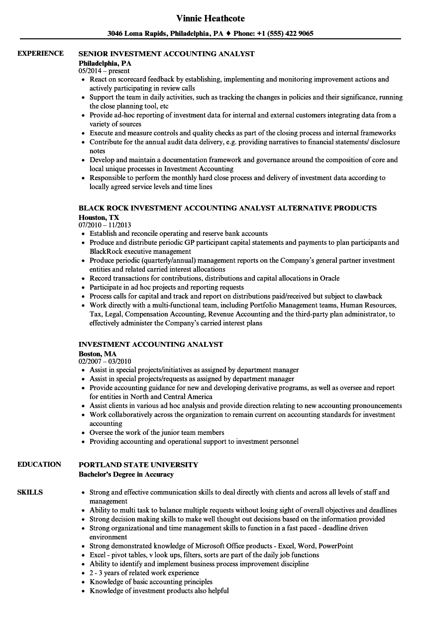 Investment Accounting Analyst Resume Samples | Velvet Jobs