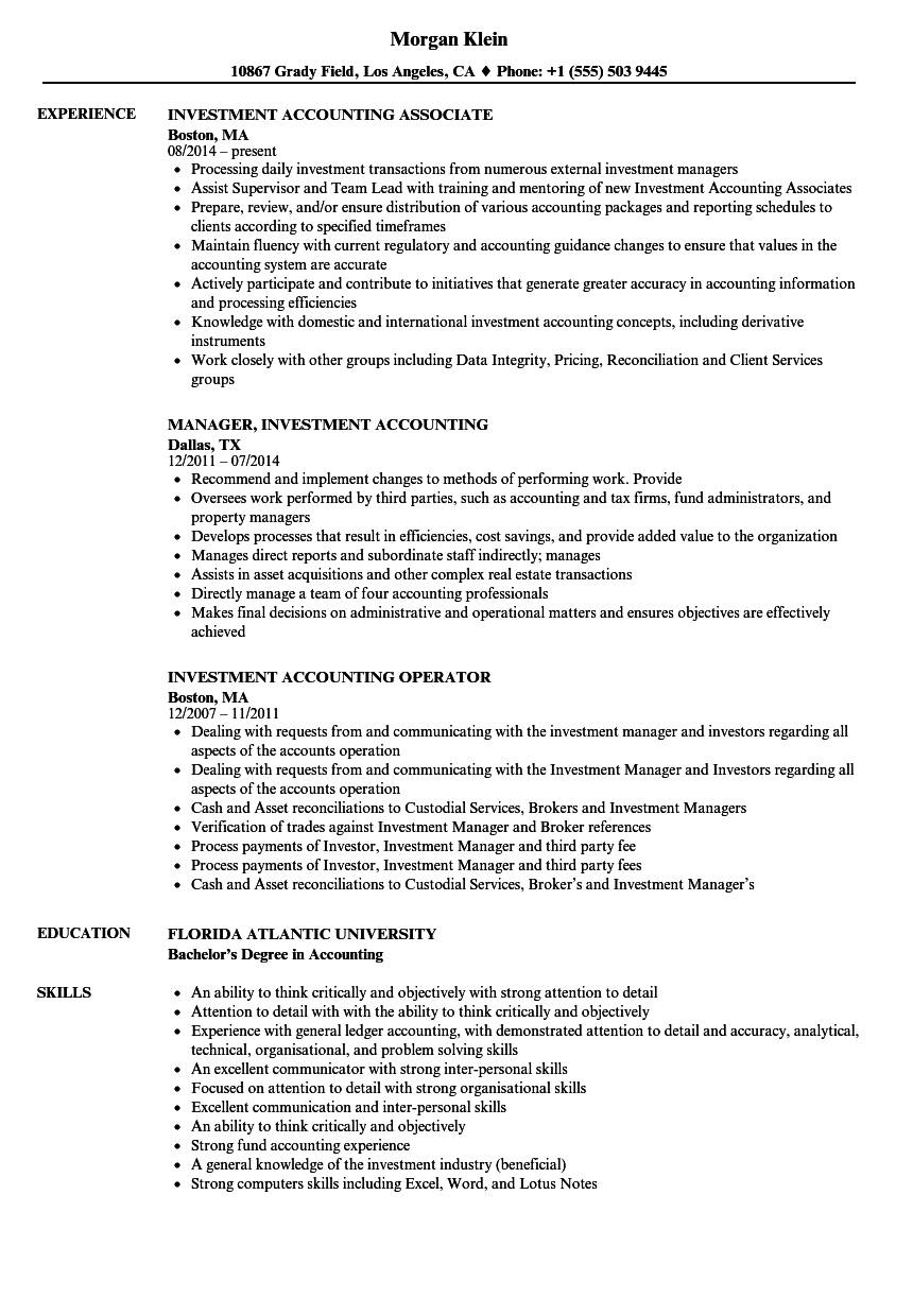 Investment Accounting Resume Samples | Velvet Jobs