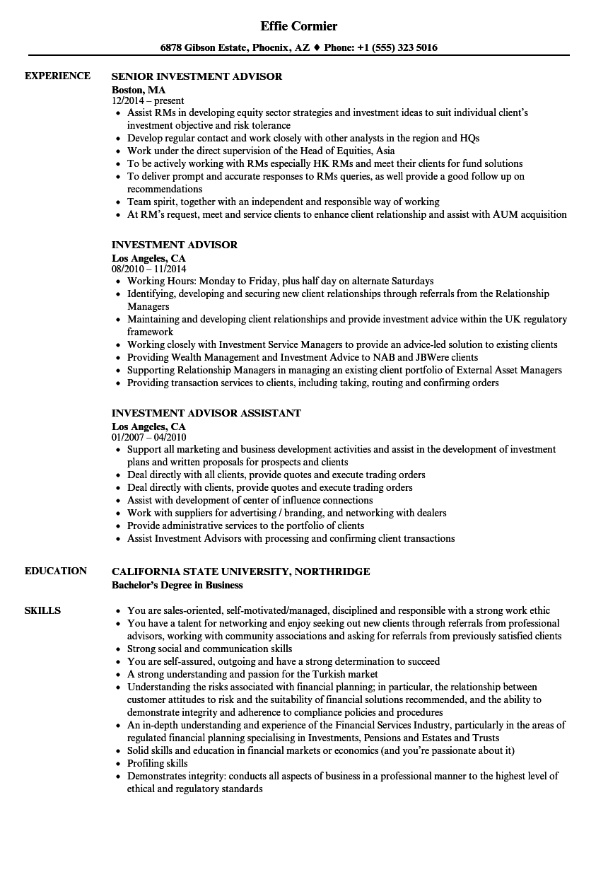 Investment Advisor Resume Samples | Velvet Jobs