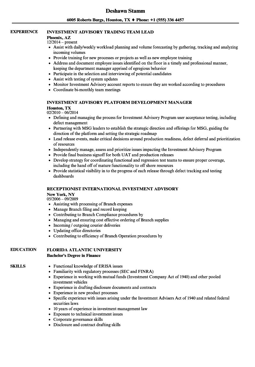 investment advisory resume samples