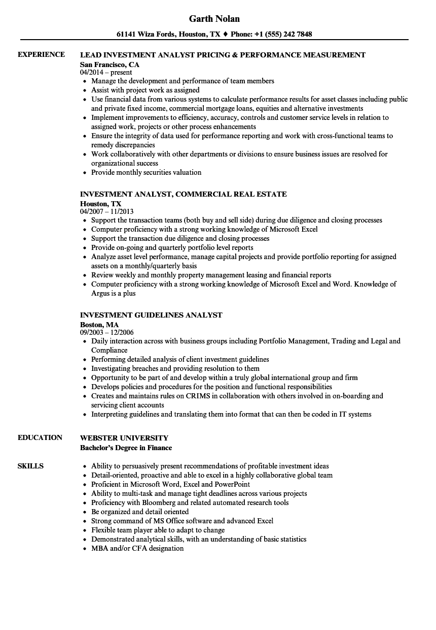 Download Investment Analyst Resume Sample As Image File
