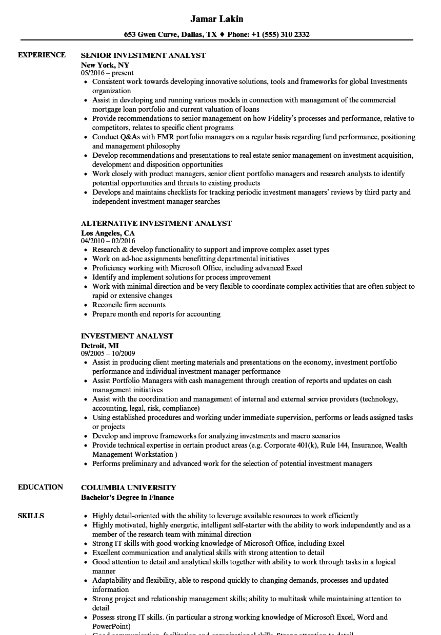 Exceptional Velvet Jobs  Investment Analyst Resume