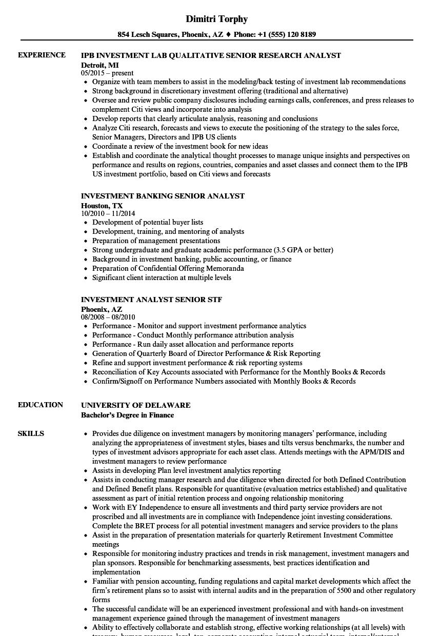 Investment Analyst Senior Resume Samples | Velvet Jobs